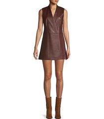 faux leather faux wrap mini dress