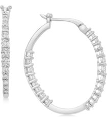 platinum by wrapped in love diamond hoop earrings (1 ct. t.w.) in platinum, created for macy's