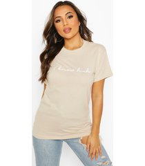 petite 'i know huh' slogan t-shirt, stone