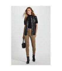 calça de sarja basic skinny high resinada colors camel - 44