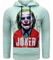 tony backer joker print hoodies mint