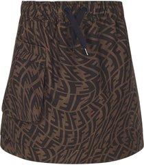 fendi brown cotton ff-logo skirt