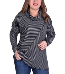 ny collection women's plus size long sleeve mini stripe oversided top