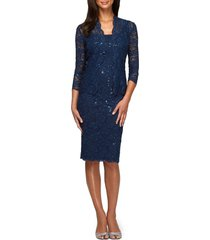 alex evenings lace cocktail dress with jacket, size 8 in navy at nordstrom