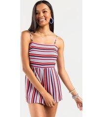 women's kamila sleeveless striped romper in multi by francesca's - size: l