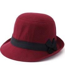 elegante berretto in lana sintetica fedoratrilby cloche cap cloche floppy felt bowknot hat