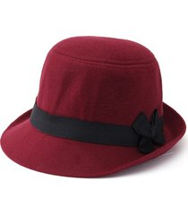 lana artificiale elegante fedoratrilby cloche cap cloche floppy feltro bowknot hat