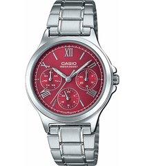 reloj casio dama elegante ltp-v300d-4a2 color rojo