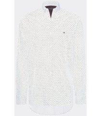 camisa de corte slim con estampado geométrico blanco tommy hilfiger