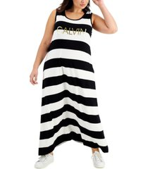 calvin klein plus size striped logo dress