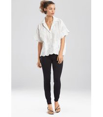natori embroidered voile t-shirt top, women's, white, 100% cotton, size m natori