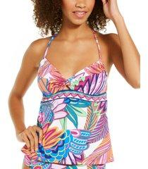 trina turk paradise plume printed tankini top women's swimsuit