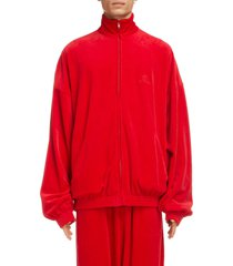men's balenciaga hotels logo distressed oversize track jacket, size x-small - red