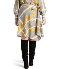 plus size women's pari passu plaid wool blend wrap skirt
