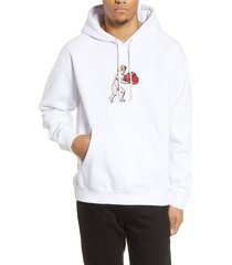 men's obey cupid applique hooded sweatshirt, size large - white