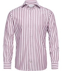 burgundy striped twill shirt overhemd business rood eton