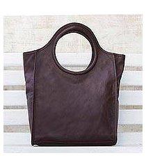 leather handbag, 'mahogany fashion' (brazil)