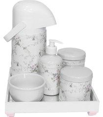 kit higiene espelho completo porcelanas, garrafa e capa rosa quarto beb㪠menina - rosa - menina - dafiti