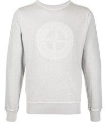stone island long sleeve logo sweater - grey