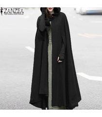 zanzea cosplay novel shawl mujeres capa con capucha botón pluvial cóctel abrigo largo -negro