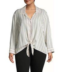 plus striped tie-front shirt
