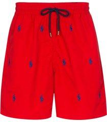 polo ralph lauren short de natação com logo bordado - vermelho