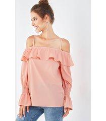 yoins blusa rosa con hombros descubiertos y mangas largas con diseño fruncido