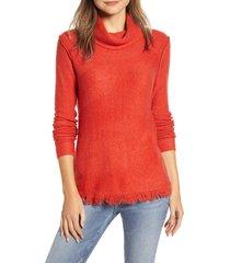 women's beachlunchlounge fringe finish cowl neck sweater, size large - red