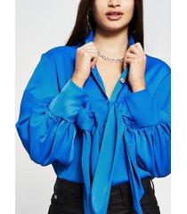 river island womens blue tie cuff long sleeve shirt