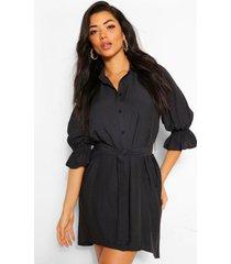 blouse jurk met pofmouwen en ceintuur, zwart