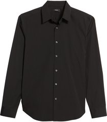 men's theory sylvain slim fit button-up dress shirt, size x-large - black