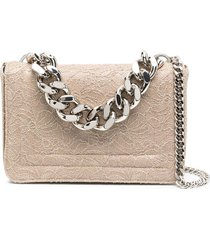 casadei lace-patterned glitter tote bag - neutrals