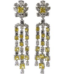 top round canary and cubic zirconia flower drop earrings