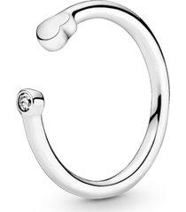 anel aberto coração polido