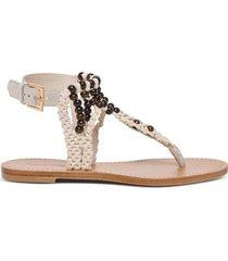 alberta ferretti braided sandals with beads detail