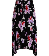 calvin klein women's floral pleated drawstring skirt - black wisteria multicolor - size m