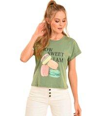 camiseta macarron verde ragged pf51120588