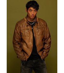 pu leather motard jacket - brown - s