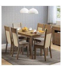 conjunto sala de jantar honduras madesa mesa tampo de madeira com 6 cadeiras rustic/crema/pérola