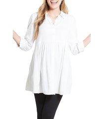women's ingrid & isabel peplum button front maternity top, size medium - white