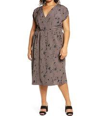 plus size women's bobeau akner ruched sleeve midi dress, size 2x - grey