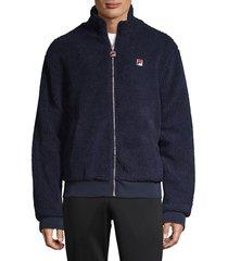 fila men's lifestyle finch faux shearling jacket - peacoat - size l