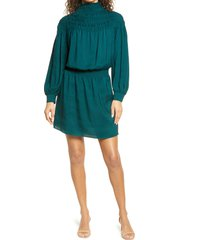 women's 1.state smocked long sleeve dress, size small - green