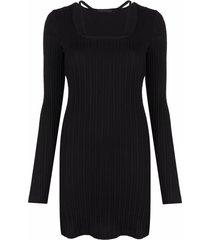 helmut lang fine ribbed-knit midi dress - black