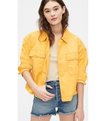 chaqueta crop swing amarillo gap