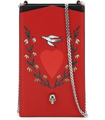 alexander mcqueen phone case with print and chain
