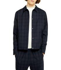 men's topman karl classic fit plaid snap-up jacket