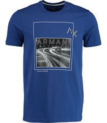 armani exchange t-shirt blauw met print slim 3hztgh.zje6z/1511