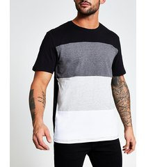 mens only and sons black colour blocked t-shirt