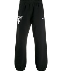 off-white hand workers track pants - black